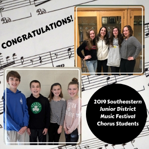 The Pembroke Music Department is thrilled to announce the students who were accepted to the 2019 Southeastern Junior District Music Festival Chorus