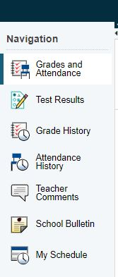 PowerSchool Menu - Grades, Attendance, Comments, Bulletin, Schedule